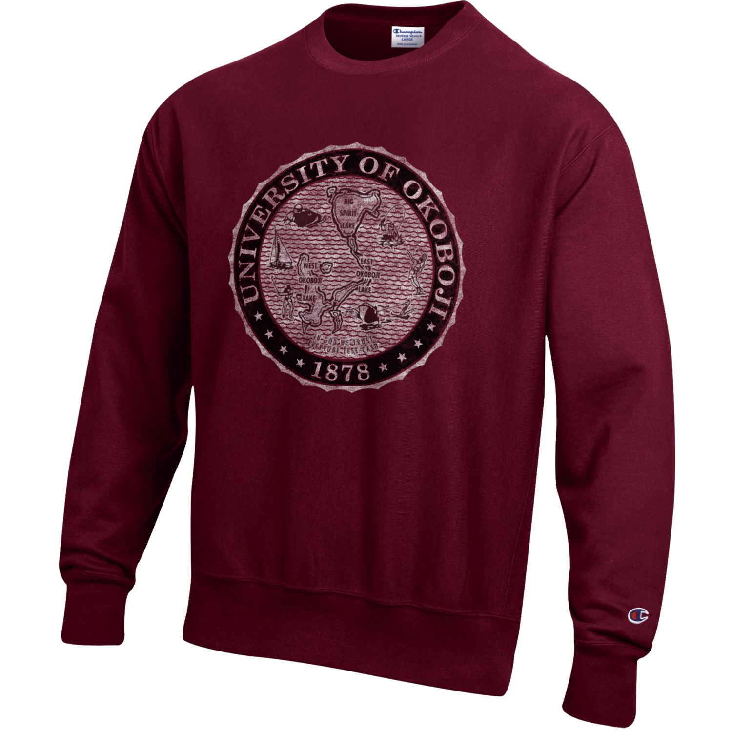 The Maroon Champion Reverse Weave Crest Crew