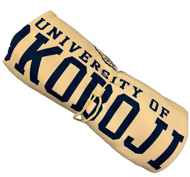 The U of O Sun Glow Gold With Navy Sweatshirt Blanket
