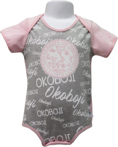 Baby Pink and Gray Okoboji Onesie
