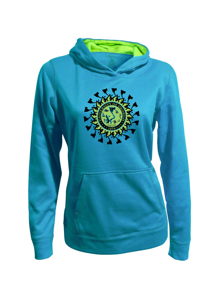 Ladies's University of Okoboji Full Force Hood - Electric Blue & Neon Green