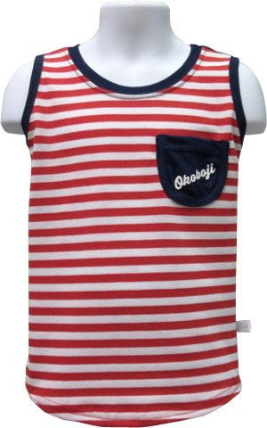 Girls Red Stripe Front Pocket Tank