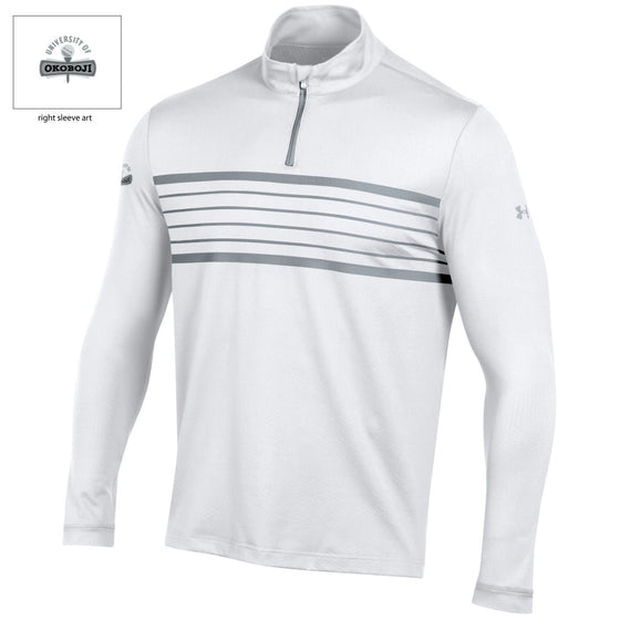 Men's White Under Armour Golf 1/4 Zip Loose Fit Long-Sleeve Shirt w/ ColdGear® Infrared