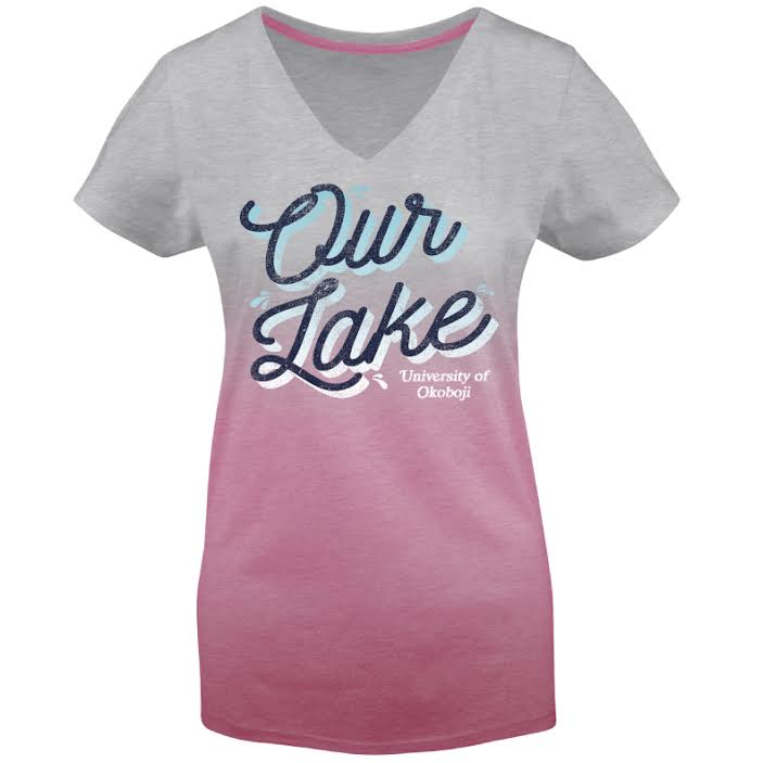 "Women's Dip-Dyed V-Neck Tee ""Our Lake"""