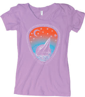 "Women's Tri-Blend Scoop Tee ""The Lake and the Stars"" - Wisteria"