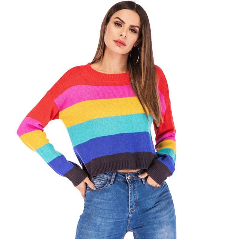 67aaa38e841 Cute Knitted Rainbow Striped Cropped Sweater for Women Kawaii Ladies Knit  Multi Color Colorful Crop Pullover Jumper Oversized