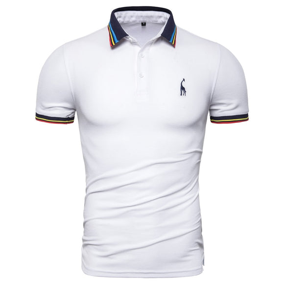 9555863b Dropshipping 2019 New Summer Cotton Polo Men Solid Deer Embroidery Short Sleeve  Polo Shirt Men Fashion