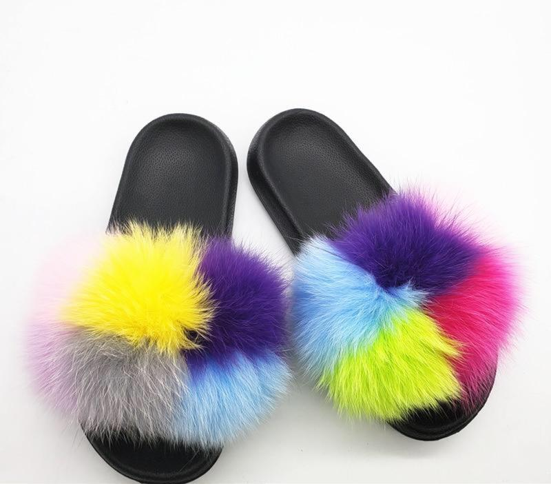 Natural Fox Hair Slippers