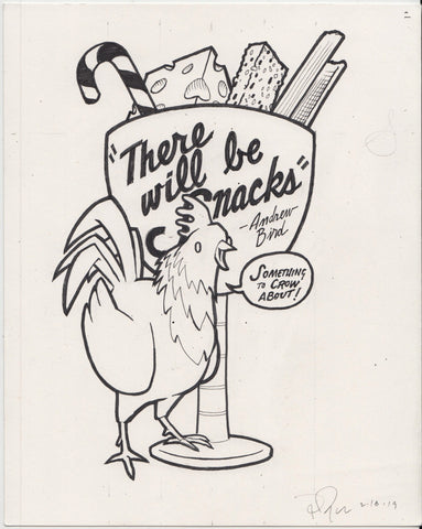 "Original Drawing: Andrew Bird ""Snacks"" shirt"