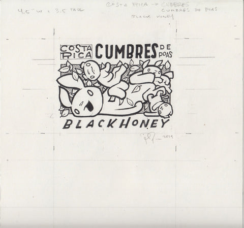 "Original Drawing: ""Cumbres"" Coffee Label"
