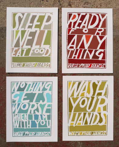 Wash Your Hands / set of four prints