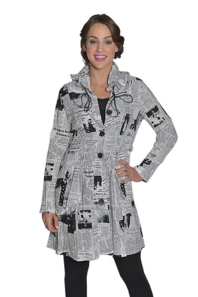 Newspaper Print Jacket by IC Collection