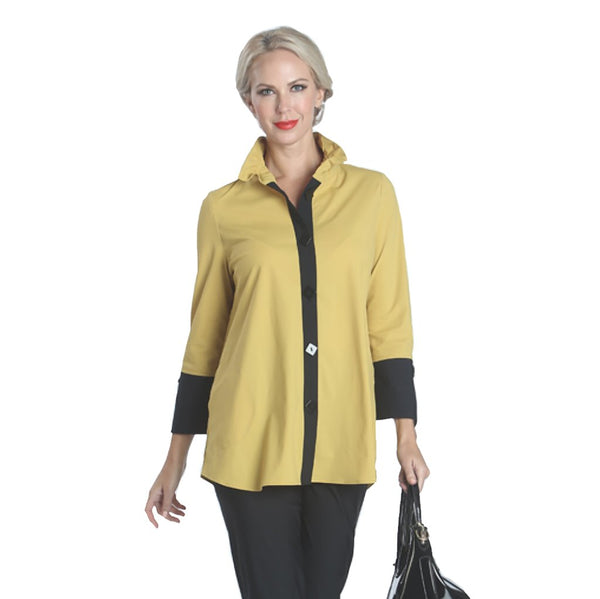 Mustard Ruffle Top by IC Collection