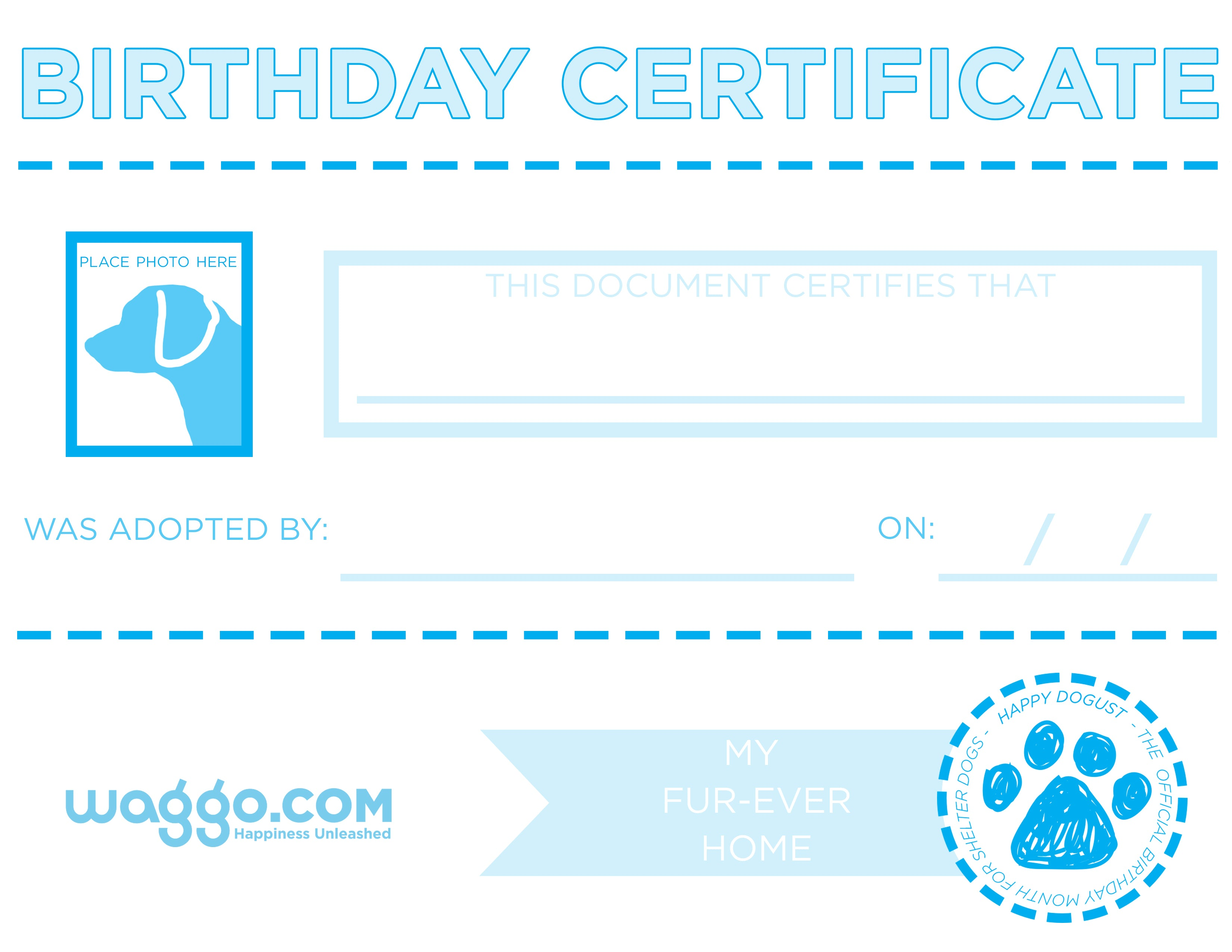 Happy dogust waggo blog animal refuge league of greater portland will receive a free gift compliments of waggo you can also download an adorable birth certificate for your aiddatafo Choice Image