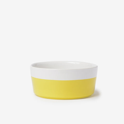 Dipper Ceramic Dog Bowl Hello Yellow