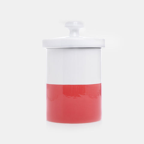 Dipped Color Ceramic Dog Treat Jar Cherry