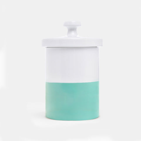 Dipped Color Ceramic Dog Treat Jar Mint