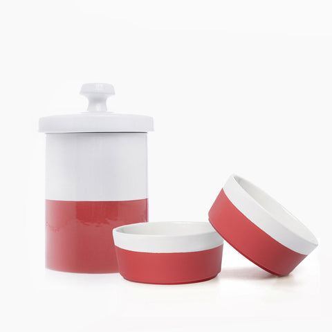 Dipper Ceramic Dog Bowl and Treat Jar Set
