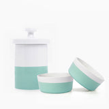 Waggo Dipper Ceramic Dog Bowl Treat Jar Set Mint Green