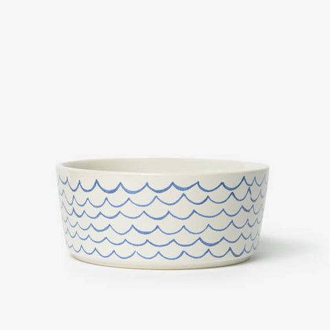 Sketched Wave Ceramic Dog Bowl