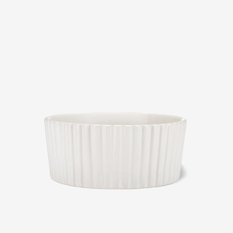 Ripple Ceramic Dog Bowl White