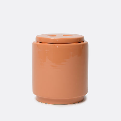 Gloss Ceramic Dog Treat Jar Rust