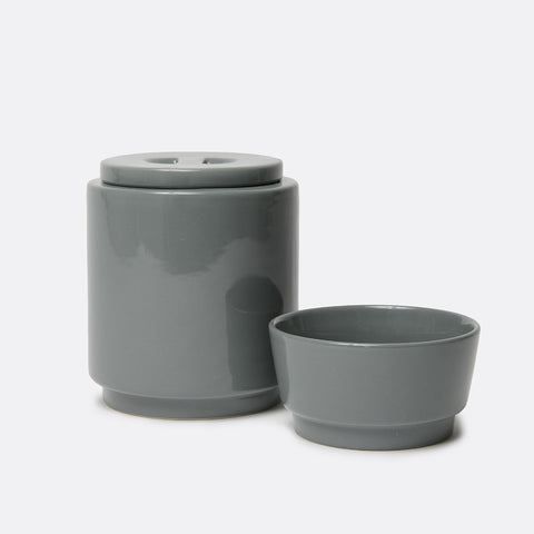 Gloss Ceramic Dog Bowl and Treat Jar Set