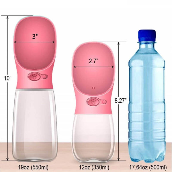 Portable Squeeze Dog Drinking Bottle size chart