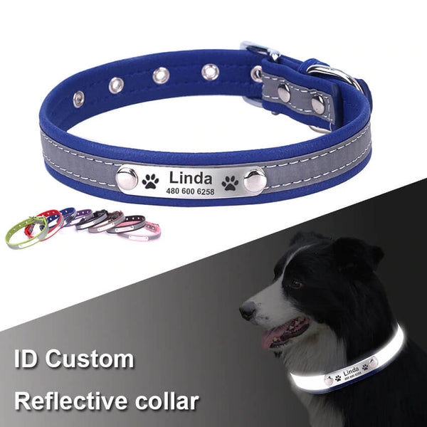 Reflective customized dog collar