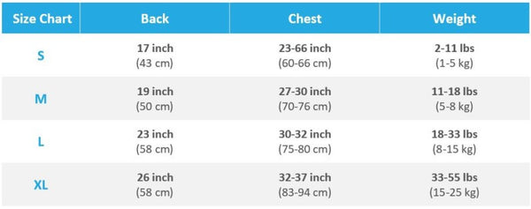 Fluffytools backpack size chart