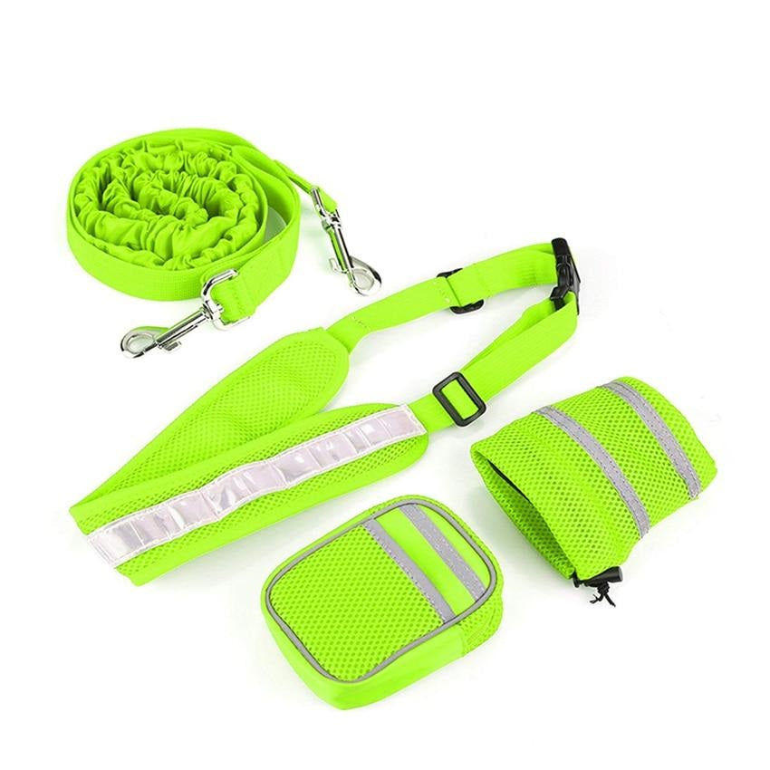 green neon hands free leashes for running