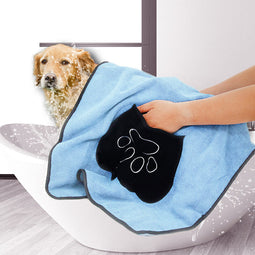 Microfiber absorbent blue dog towel
