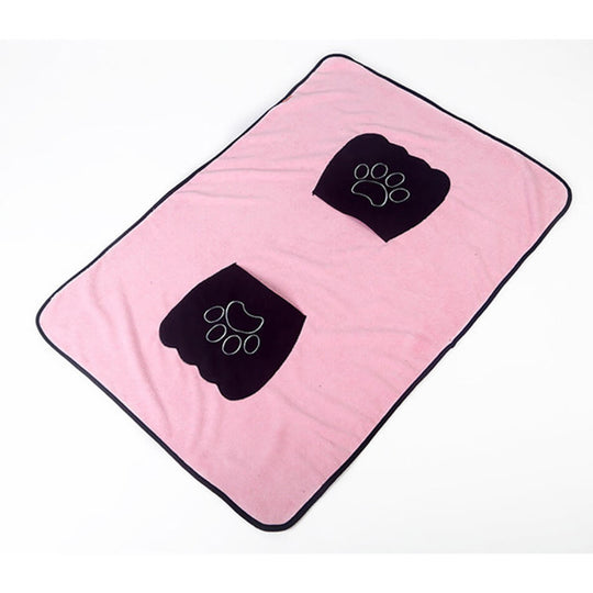 Microfiber absorbent pink dog towel