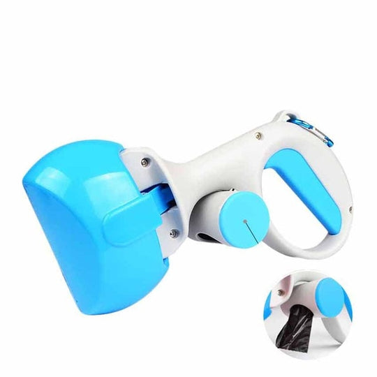 blue poop scoop with attached bag
