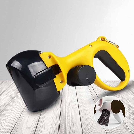 yellow poop scoop with attached bag