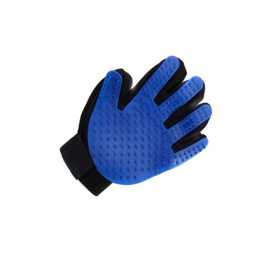 Blue Grooming Glove for Pet Fur