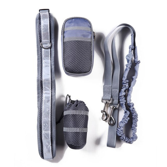 grey reflective dog lead for training running hiking
