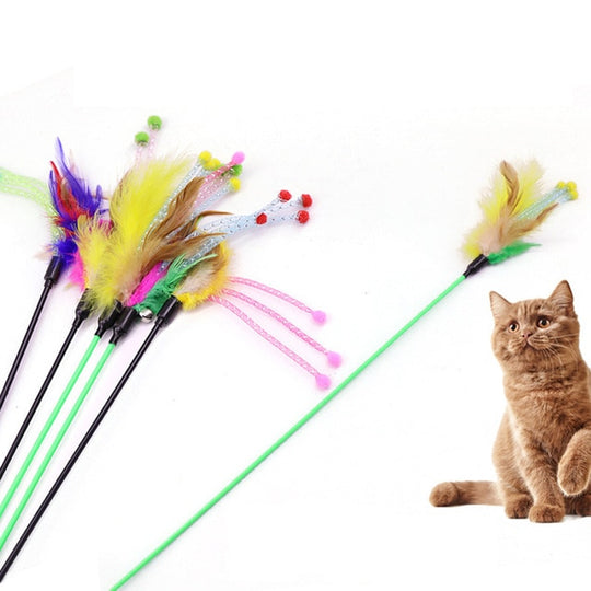 cat toy mouse on stick
