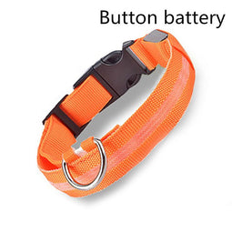 Orange led light up dog collar for nights