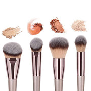 4pcs Luxury Champagne Makeup Brush Set, Premium Synethic - WINK EYELASH BAR & MAKEUP STUDIO