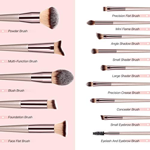 14pcs Pro Series Makeup Brushes Set, with Travel Case - WINK EYELASH BAR & MAKEUP STUDIO
