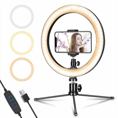 "10"" LED Dimmable Ring Light Photographic Selfie Light With Stand And Phone Holder - WINK EYELASH BAR & MAKEUP STUDIO"