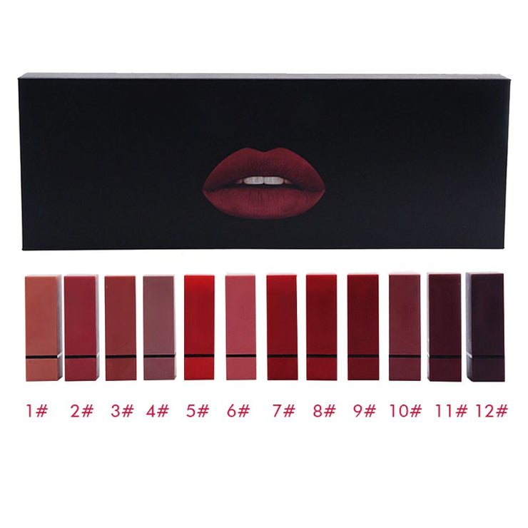 Matte Color Box - 12 Long Lasting Matte Lipsticks w/Gift Box - WINK EYELASH BAR & MAKEUP STUDIO