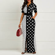 Vintage Polka Dot White Black Printed Bodycon Summer Maxi Dress - WINK EYELASH BAR & MAKEUP STUDIO