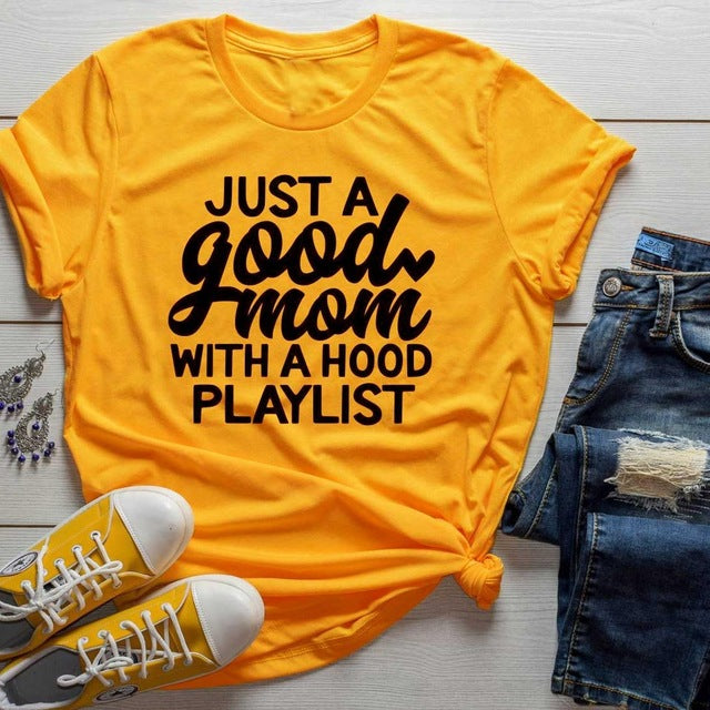 Just a Good Mom with Hood Playlist Fun  T-Shirt - WINK EYELASH BAR & MAKEUP STUDIO