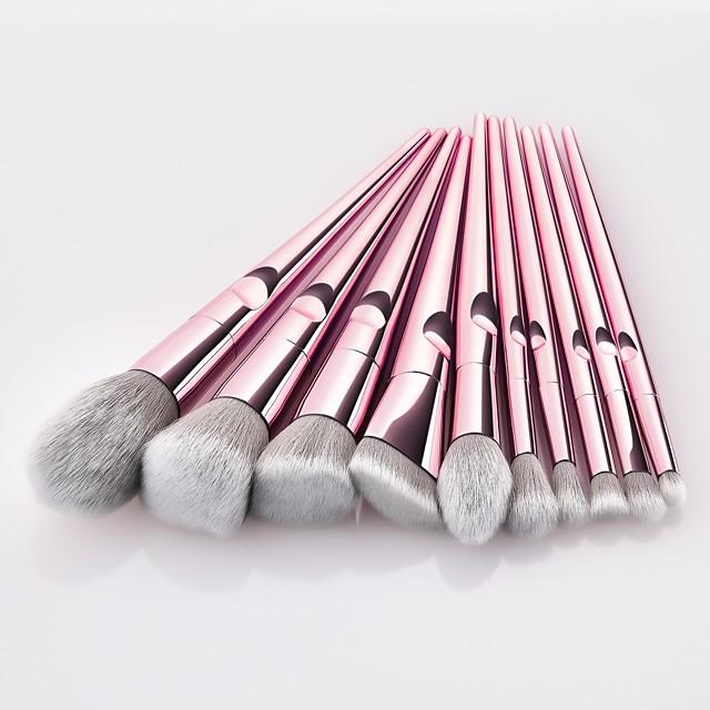 10 pcs Premium Nylon Prof Handle Rose Gold Makeup Brush Set - WINK EYELASH BAR & MAKEUP STUDIO