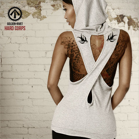 Bombshell Ladies Hooded Cross Back Tank