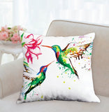 colorful funky humming bird cushion