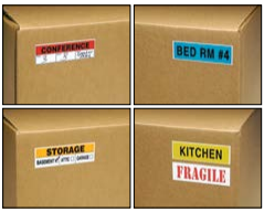 Coloured Room Labels - The Box Guys - Packing Supplies Toronto, Moving Services Toronto, Boxes, Bubble Wrap, Tape, Paper.