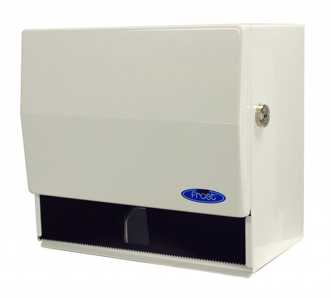 FROST 101-J WHITE JUMBO ROLL TOWEL DISPENSER WITH LOCK