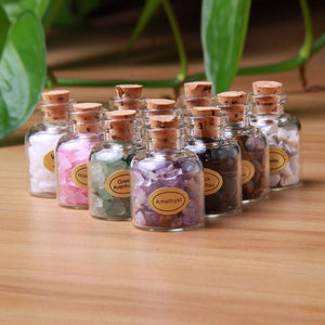 9 Piece Mini Gemstone Bottle Set, Assorted Reiki and Chakra Healing Stone Set - TARAH CO.